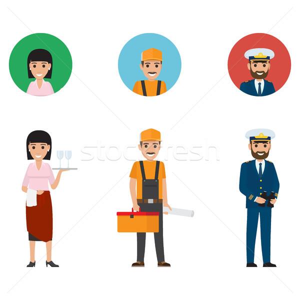 Set of Waiter, Builder and Mariner Flat Design Stock photo © robuart