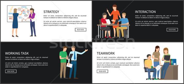 戦略 インタラクション セット チームワーク 作業 タスク ストックフォト © robuart