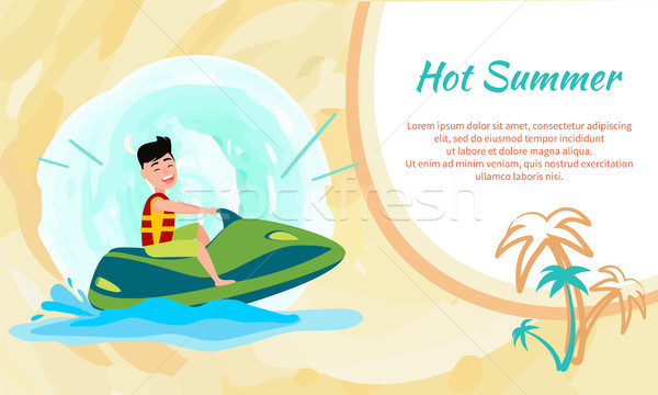 Hot Summer Poster with Place for Text and Jet Ski Stock photo © robuart