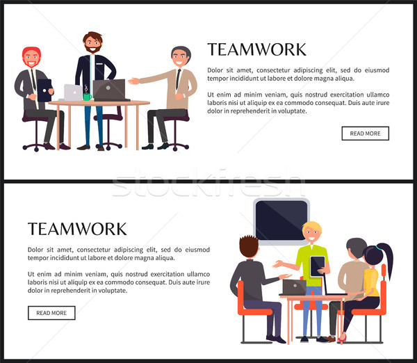 Teamwork Web Page Templates with Entrepreneurs Stock photo © robuart