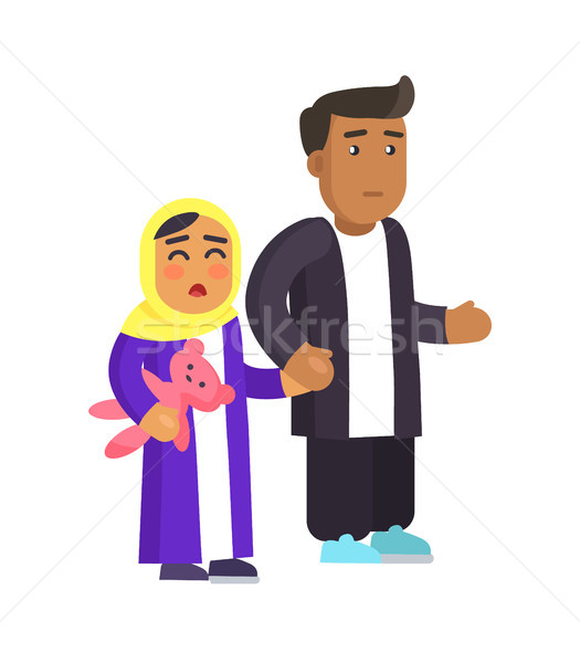 Concerned Father and Daughter Vector Illustration Stock photo © robuart