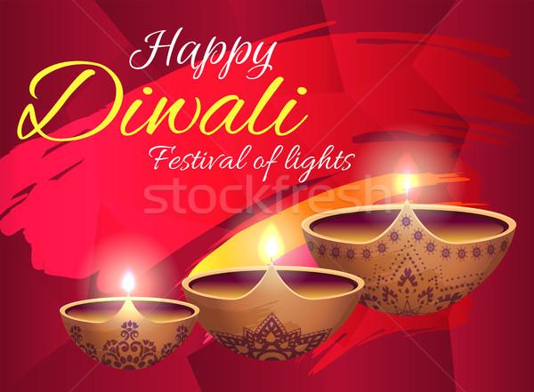 Gelukkig diwali festival lichten heldere poster Stockfoto © robuart
