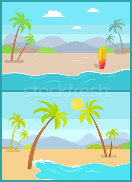 海岸線 ポスター 熱帯ビーチ 海 砂 手のひら ストックフォト © robuart