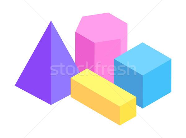 Dört geometrik yalıtılmış beyaz arka plan mavi Stok fotoğraf © robuart