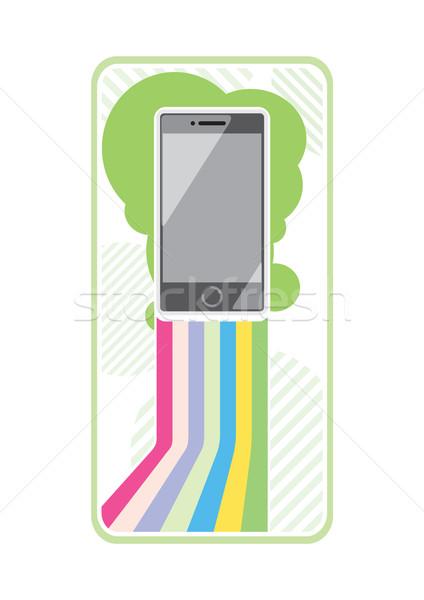 Okostelefon elegáns vonalak színes interaktív mobil Stock fotó © robuart