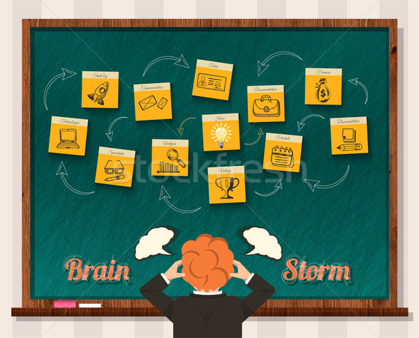 Concept Brainstorm. Man and Blackboard Stock photo © robuart