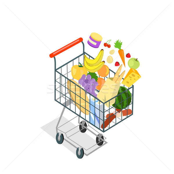 Bevásárlókocsi termékek étel bevásárlókocsi ikon áruház Stock fotó © robuart