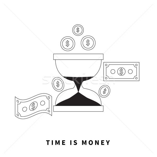 Vakit nakittir kum saati madeni para iş para saat Stok fotoğraf © robuart
