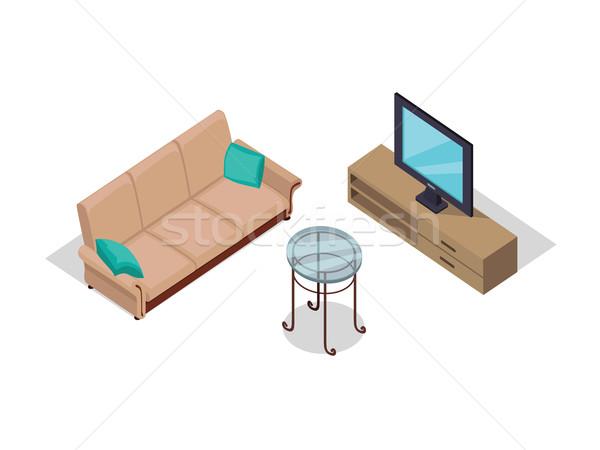 Sofa and Lamp Isometric Design Stock photo © robuart