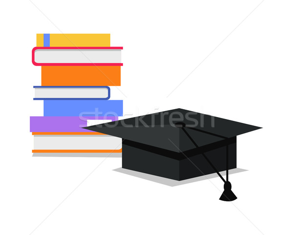 Stack of Books and Square Academic Cap. Vector Stock photo © robuart