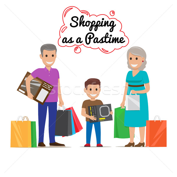 Shopping as Pastime for Your Family. Cartoon Family Stock photo © robuart