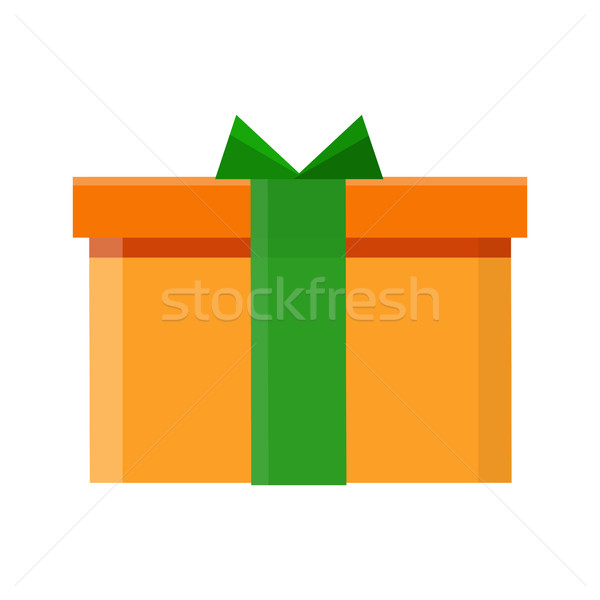 Photo stock: Coffret · cadeau · vecteur · icône · style · design · orange