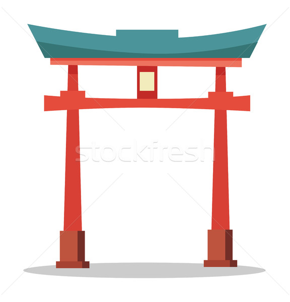Japanese Red Gate. Traditional Oriental Landmark Stock photo © robuart