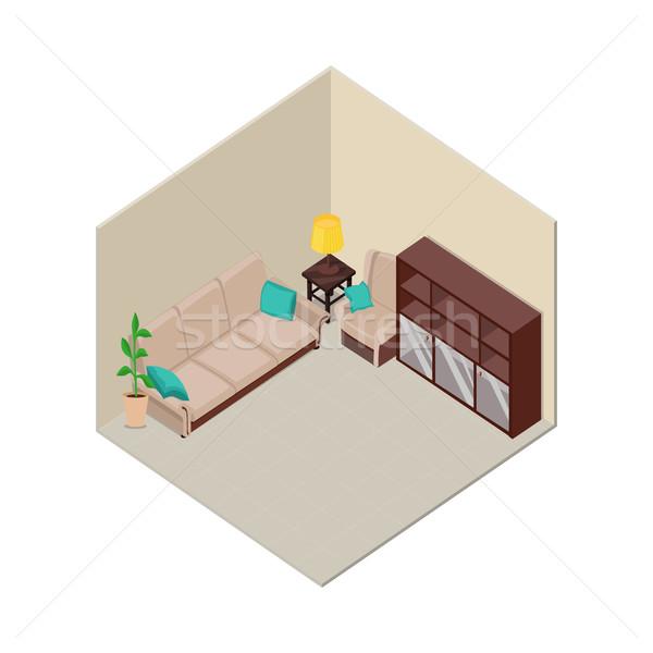 アパート インテリア アイソメトリック 投影 実例 ルーム ストックフォト © robuart
