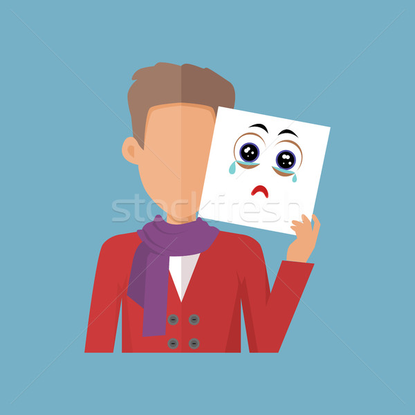 Boy with Sheet of Paper Expressing Sadness. Stock photo © robuart