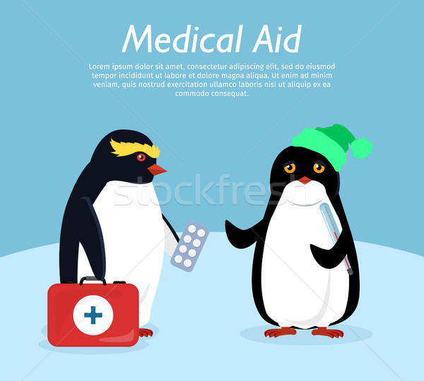 Penguin Gives Quick Medical Aid to his Friend Stock photo © robuart
