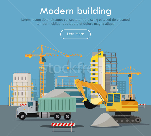 Edifício moderno projeto vetor teia bandeira estilo Foto stock © robuart