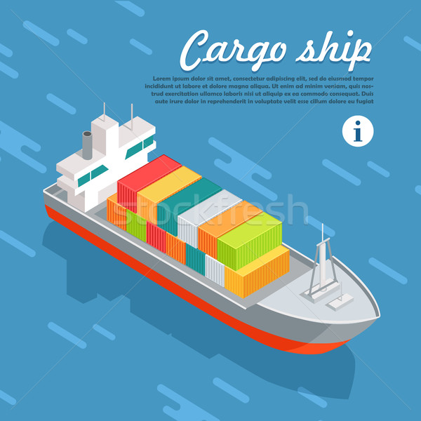 Cargo Ship Container Sailing in Sea. Vector Stock photo © robuart