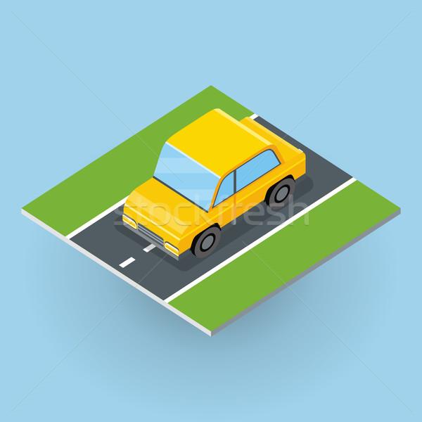 Auto weg illustratie isometrische projectie jeep Stockfoto © robuart