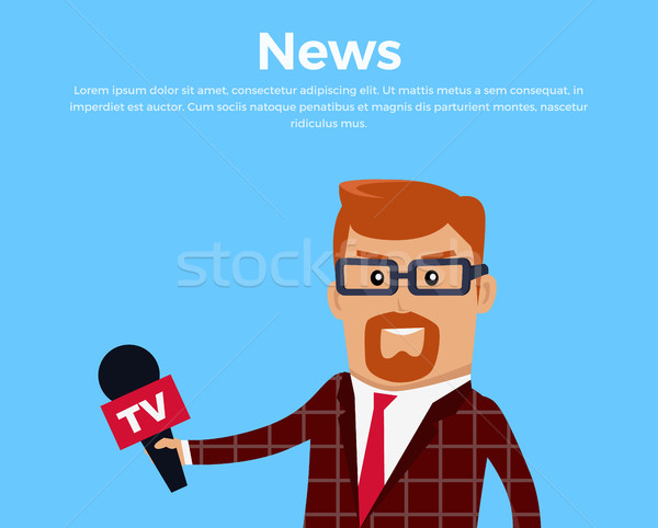 Breaking news verslaggever banner media werknemer karakter Stockfoto © robuart