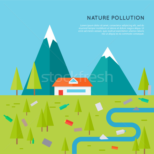 Nature Pollution Concept Vector in Flat Design. Stock photo © robuart