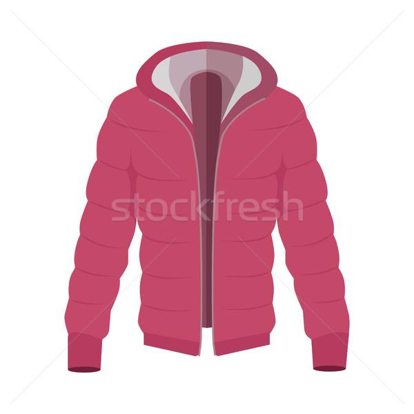 Beneden jas stijl Rood warm icon Stockfoto © robuart
