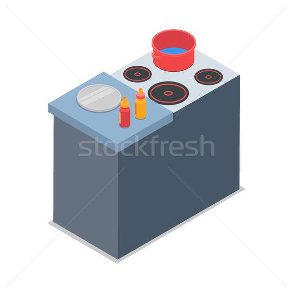 Ilustrare izolat roşu oală alb patru Imagine de stoc © robuart