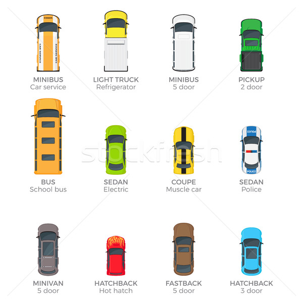 Automobiles Vector Collection with Names on White Stock photo © robuart