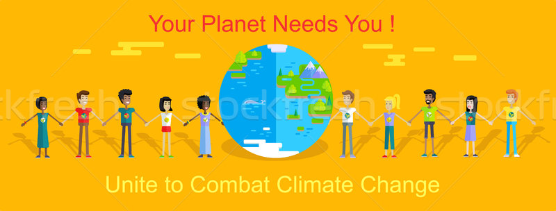 Saving Planet Earth Vector Concept in Flat Design. Stock photo © robuart