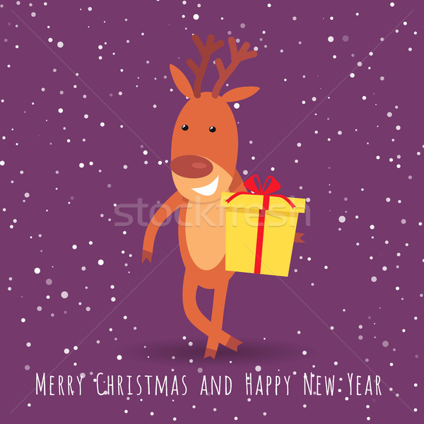 Reindeer with Gift Box Greeting. Cartoon Character Stock photo © robuart