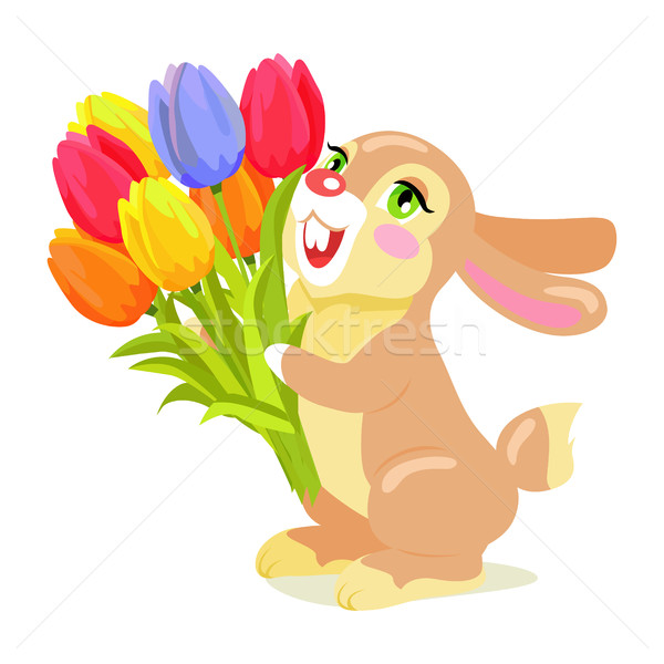 Milk Chocolate Bunny with Luxury Bouquet of Tulips Stock photo © robuart