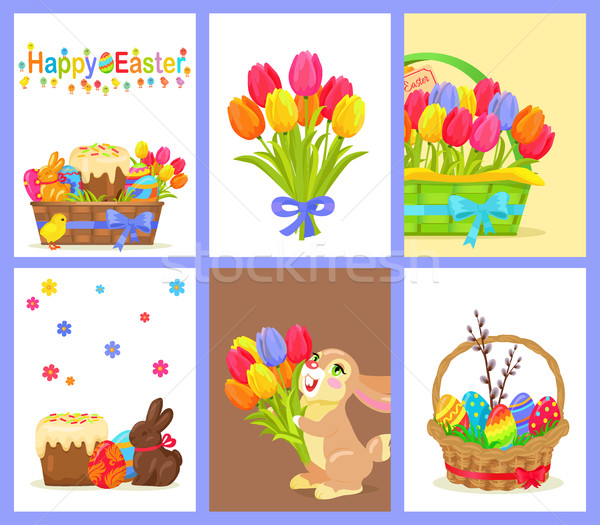 Stock photo: Set of Happy Easter with Flowers and Sweet Dessert