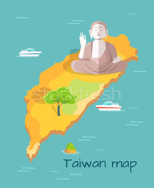 Karikatür harita Buda heykel örnek dev Stok fotoğraf © robuart
