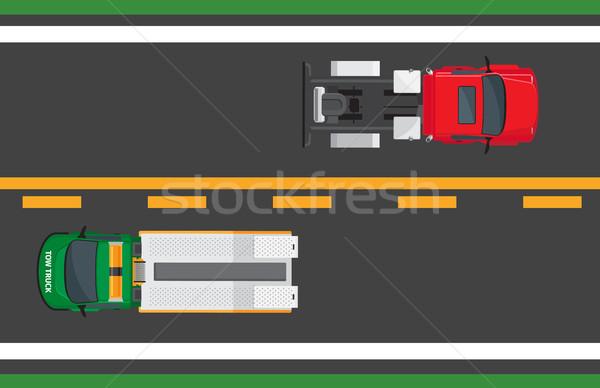 Város forgalom vektor autók autópálya traktor Stock fotó © robuart
