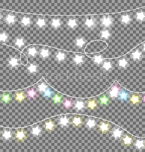 Stock photo: Garland Ropes with Bulbs on Transparent Background