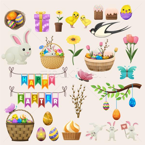 Kellemes húsvétot színes poszter címkék gyűjtemény fény Stock fotó © robuart
