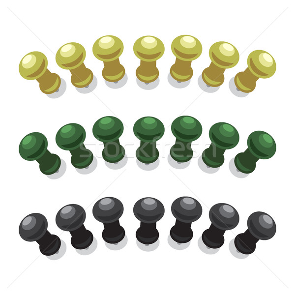 Stock photo: Big Pushpins Set of Isolated Illustrations