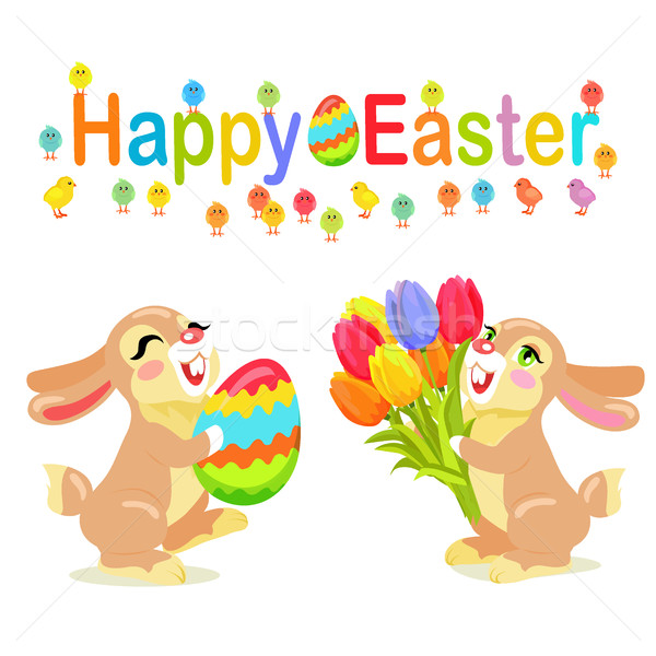 Kellemes húsvétot üdvözlőlap terv tej csokoládé tulipánok Stock fotó © robuart