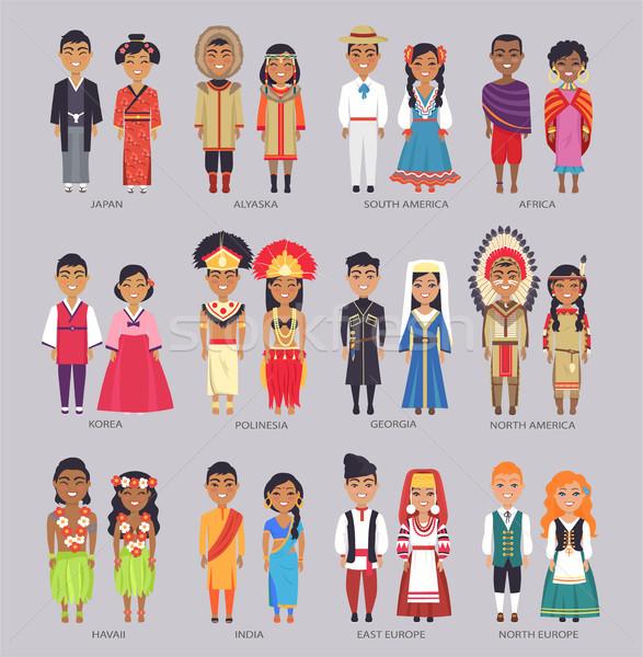 Párok hagyományos ruházat ajándék országok fiatal Stock fotó © robuart