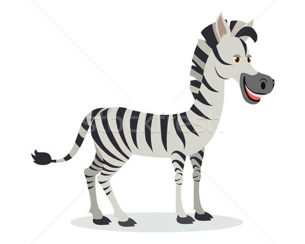 Zebra Cartoon Icon in Flat Design Stock photo © robuart
