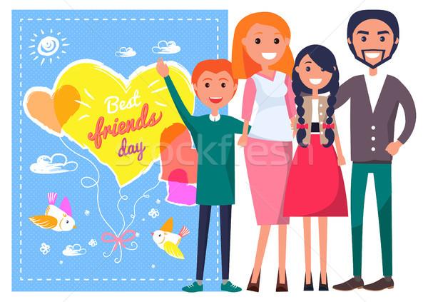 日 テンプレート ポスター 家族 幸せな家族 ストックフォト © robuart