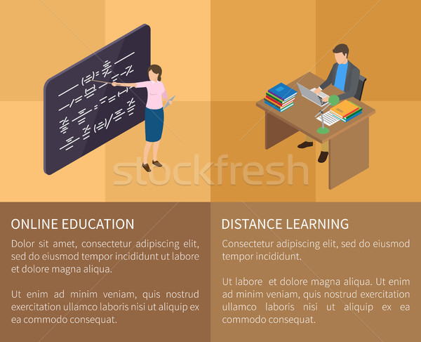 Online Education and Distance Learning Poster Stock photo © robuart