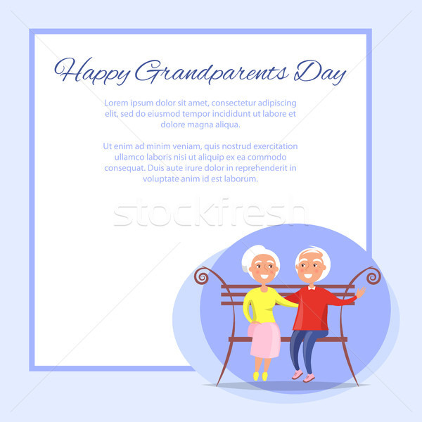 Happy Grandparents Day Senior Couple on Bench Stock photo © robuart