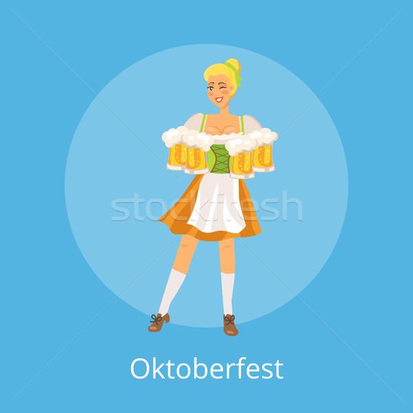 Oktoberfest poszter mosolyog pincérnő visel hagyományos Stock fotó © robuart