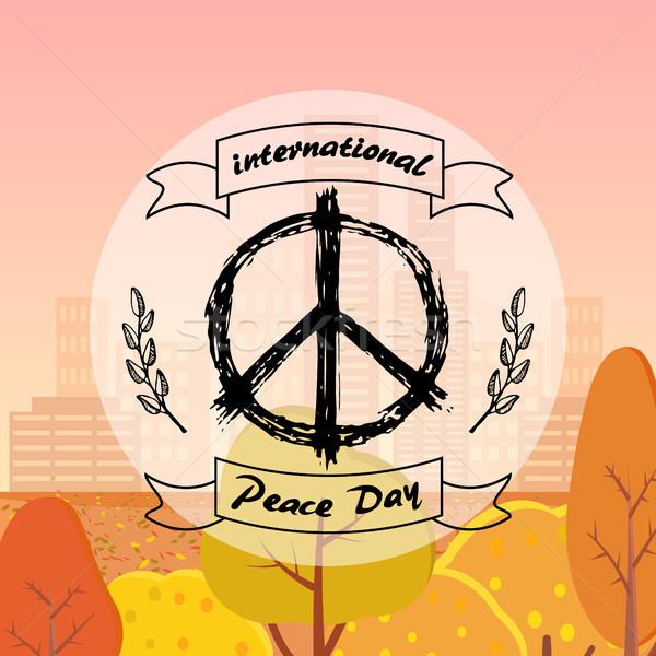 Internacional paz día anunciante hippie signo Foto stock © robuart