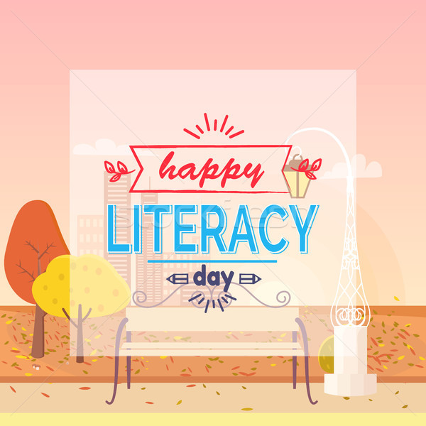 Happy Literacy Day Wish Autumn Vector Illustration Stock photo © robuart