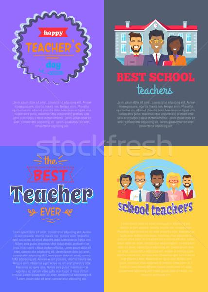 学校 教師 プラカード セット 4 両方 ストックフォト © robuart