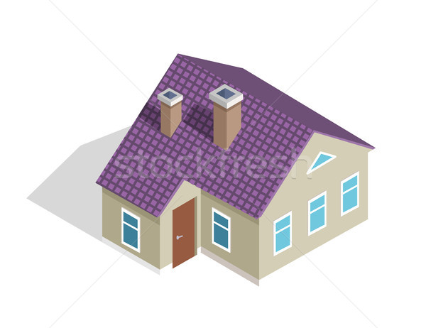 Cottage Two-Storey House with Roof, Entrance Door Stock photo © robuart