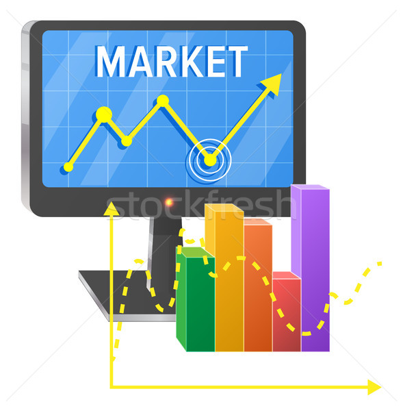 Computer Screen with Graphic of Success on Market Stock photo © robuart