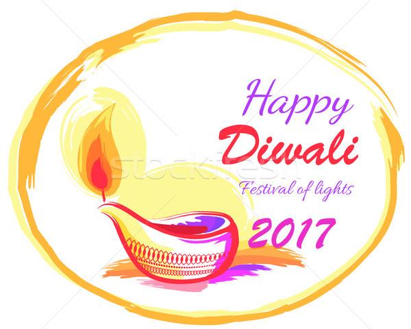 Happy Diwali 2017 Festival of Lights Banner Stock photo © robuart